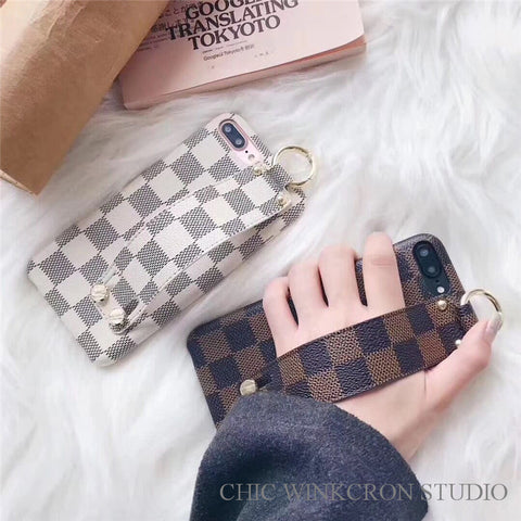 Checkered Pattern iPhone Case with Strap