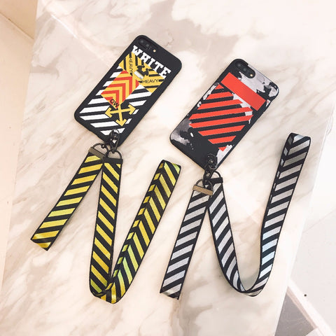 Caution Striped iPhone Case with Lanyard
