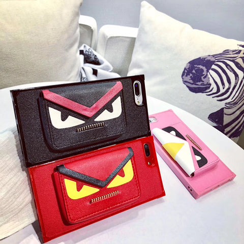 Monster Eyes Wallet Zipper iPhone Case