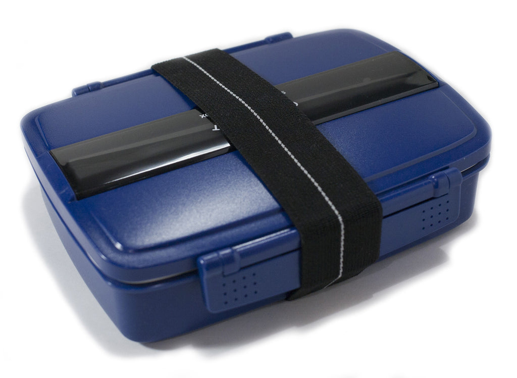 Japanese Modern/Traditional Compartmental Bento Box, Chopsticks, Elastic Band (BLUE)