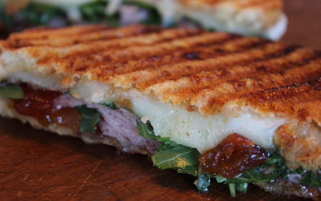 panini cheese grilled onion tomato arugula lunch