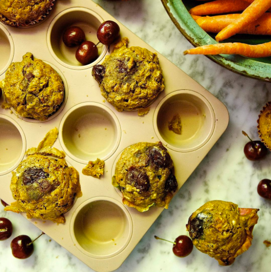 Carrot, Cherry & Chai Pear Muffins