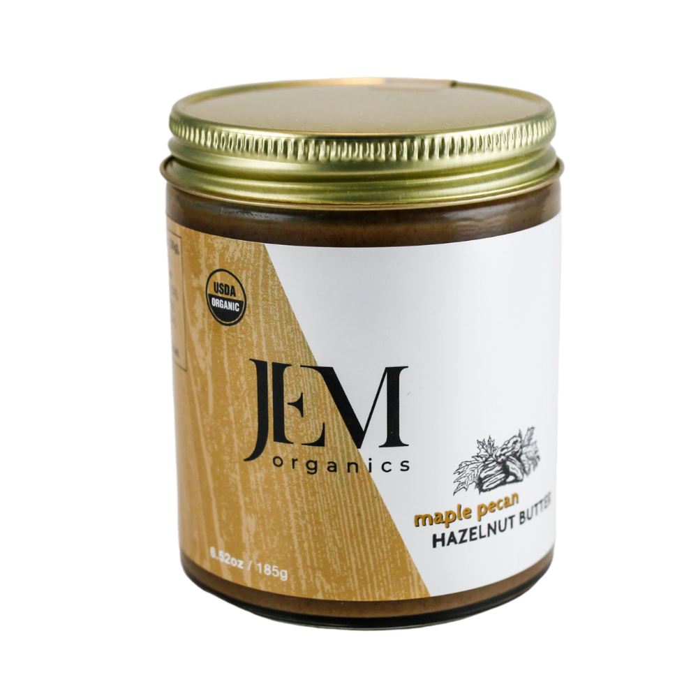 spread maple pecan hazelnut butter jar