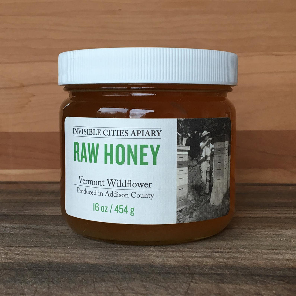 Invisible Cities Apiary Raw Honey - Vermont Wildflower  16oz