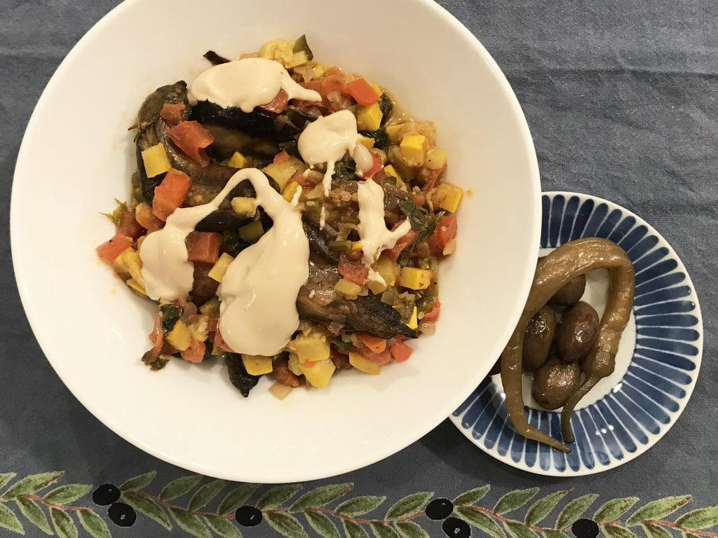 Eggplant, Zucchini, and Tomatoes Stew with Baharat and Tahini Sauce
