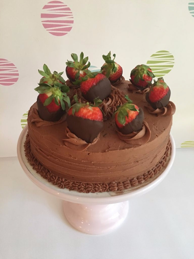 Chocolate and Coffee Layer Cake with Chocolate Covered Strawberries