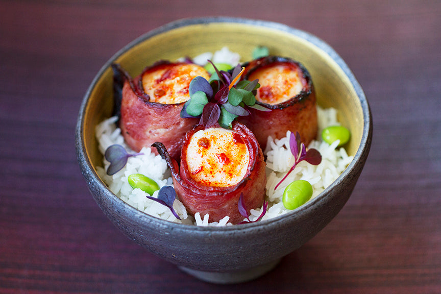 Featured Bacon Wrapped Scallops Rice Bowl