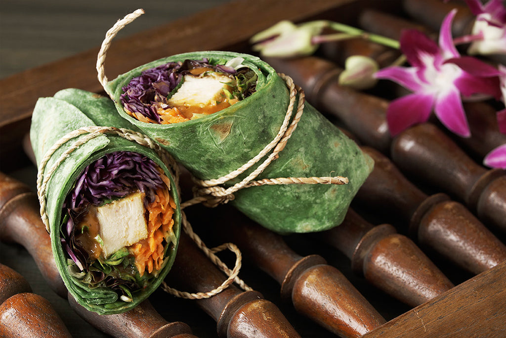 thai peanut chicken vegetable wrap lunch