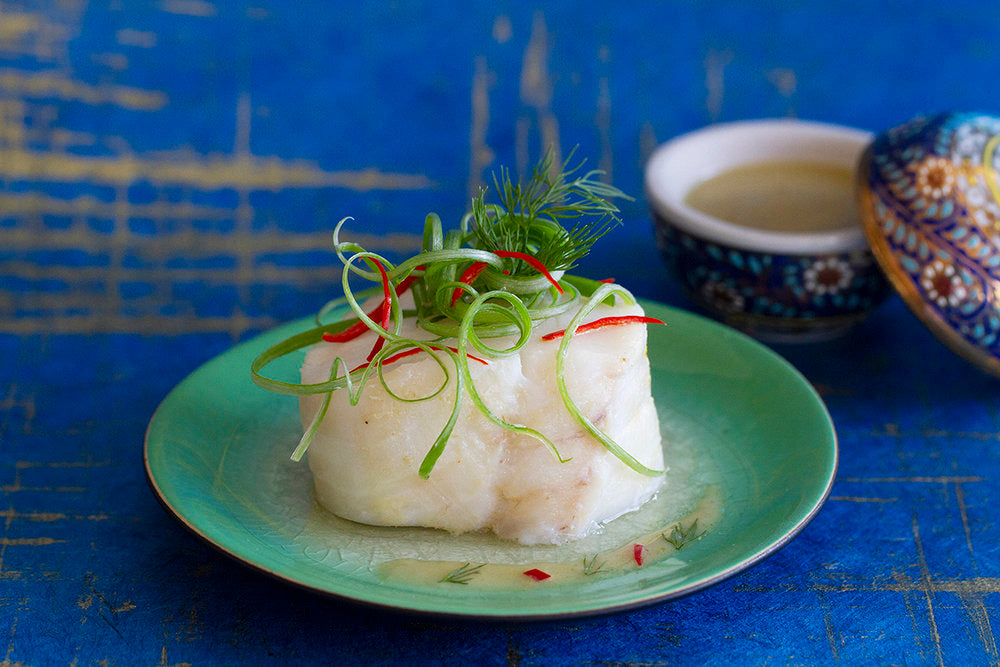 Steamed Cod with Thai Green Curry Sauce