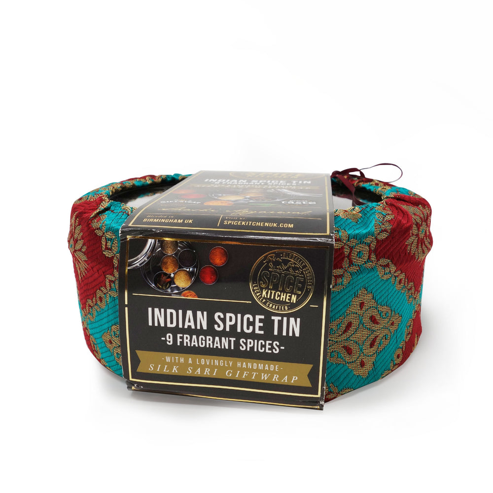 Spice Kitchen - Indian Spice Tin with 9 Spices & Handmade Silk Cover