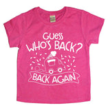 "pink shirt with white design ""guess who's back, back again"" with icecream truck graphic"