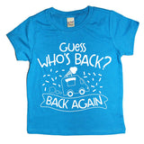 "blue shirt with white design ""guess who's back, back again"" with icecream truck graphic"