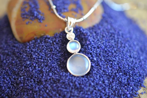 2.5ct Blue Moonstone with Diamond 18k necklace top