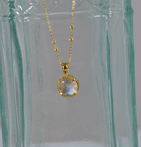 New! 2ct Blue Moonstone necklace top 18k