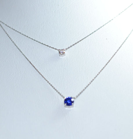 K18 White gold Blue Sapphire and Diamond Necklace