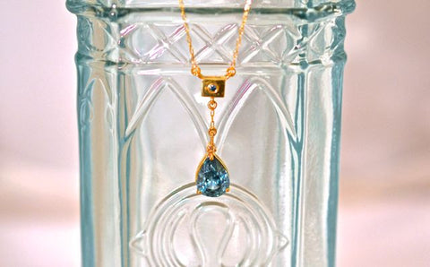 3ct Blue Zircon and Blue Diamond 18k Necklace