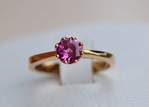 015 18k Pink Sapphire Ring