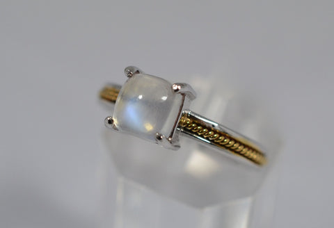 003 Natural Blue Moonstone 18k Ring