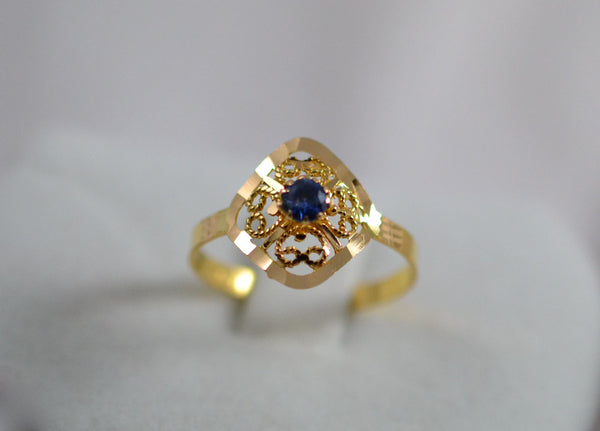 Natural Blue sapphire with 21k ring