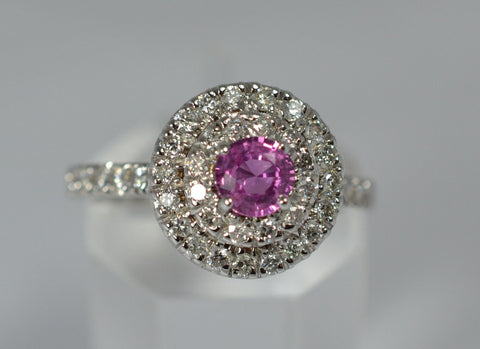 001 Natural Pink Sapphire and Diamonds Ring 18k