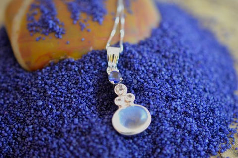 2.5ct Blue Moonstone and Blue Sapphire and White sapphire Necklace top 18k