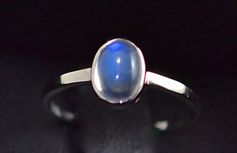 014 Sri Lanka Natural Blue Moonstone with 18k white gold ring
