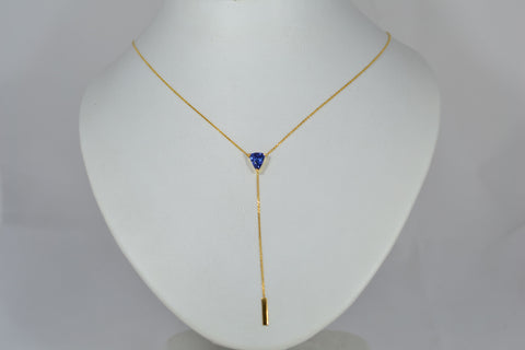 006 1.24ct Natural Blue Sapphire Necklace
