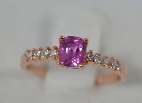 012 Natural Pink Sapphire wht 18k Rose gold Ring