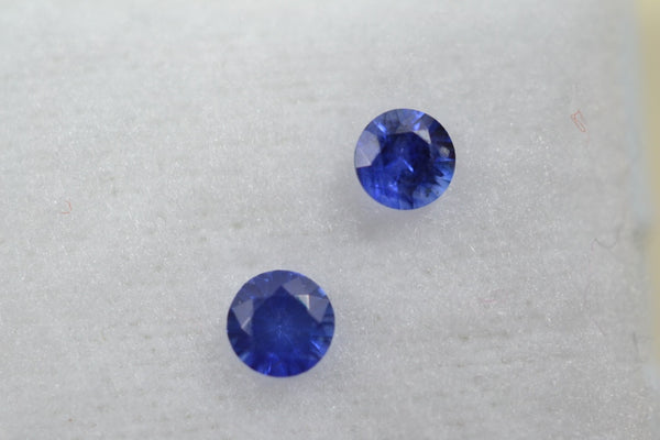 0.39 total Ct matching pair royal blue sapphires