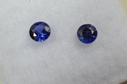 0.4 total Ct matching pair royal blue sapphire rounds