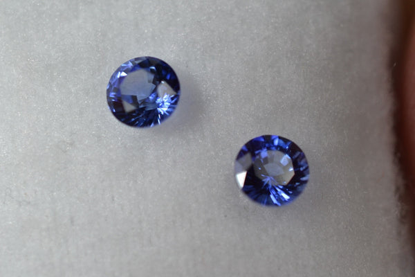 0.65 total Ct matching pair royal blue sapphire rounds