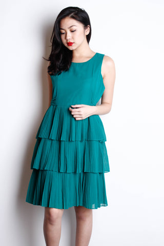 [ZARA] Emerald Pleated Dress