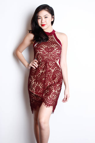 [THE TINSEL RACK] Maroon Lace Dress