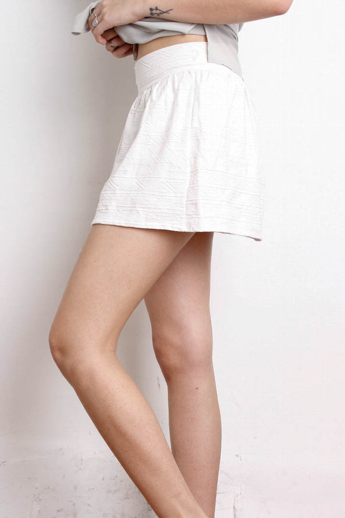 [BERSHKA] Cream Embossed Aztec Skirt