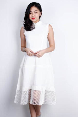 [Tasi] White Honeycomb Dress