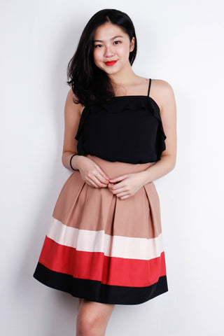 [ZARA] Colour Block Flare Skirt