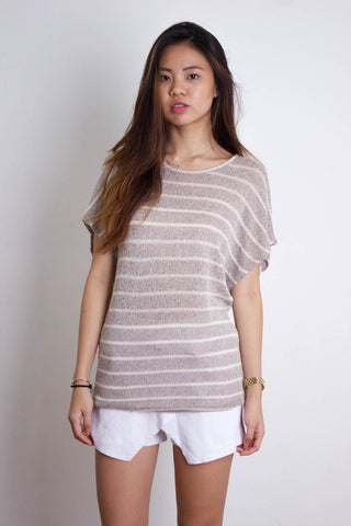 [FOREVER21] Brow Knitted White Striped Top