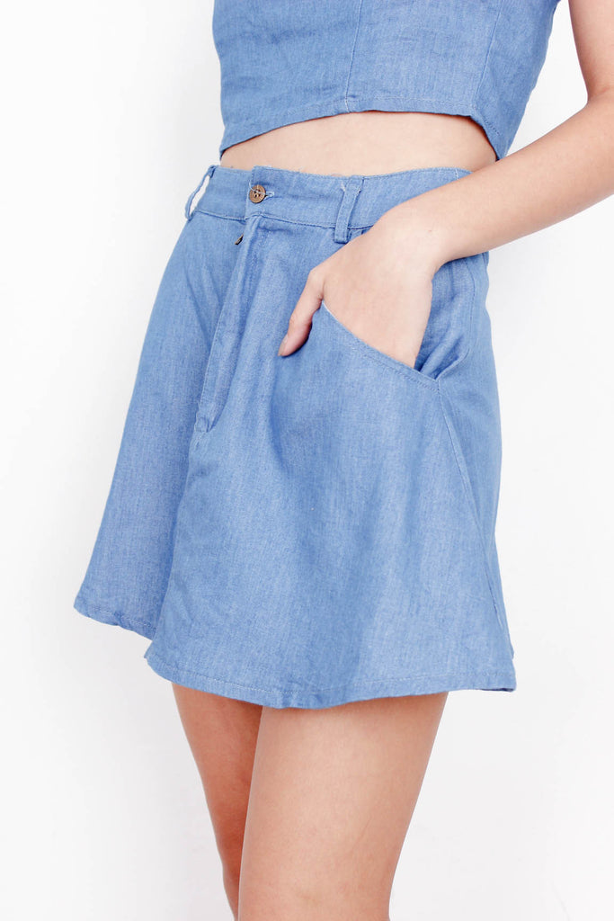 [HOLLYHOQUE] Denim High Waist Skirt