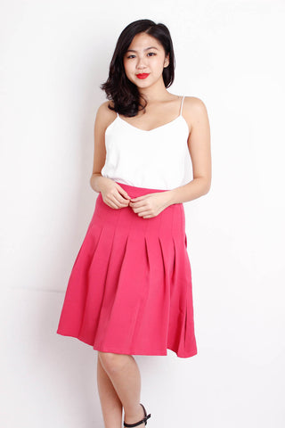 [AFORARCADE] Pleated Midi Skirt in Hot Pink