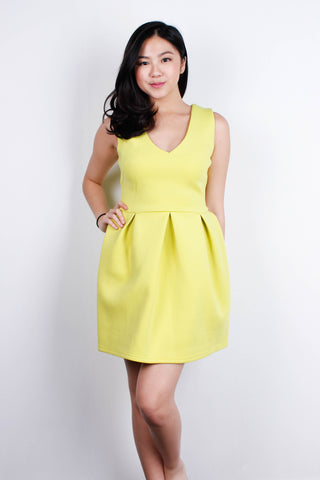 [MDS] Neon Yellow V Neck Dress
