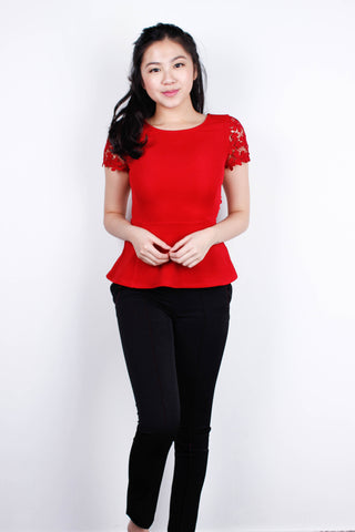 [THE CLOSET LOVER] Red Crochet Sleeve Top