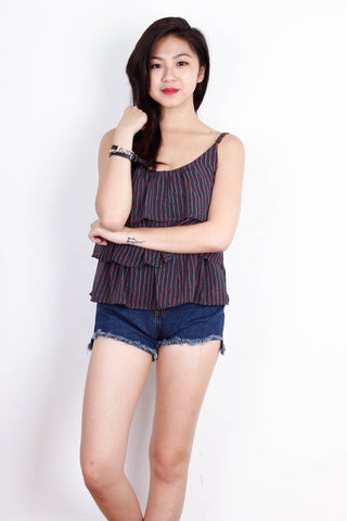 [FOREVER21] Black With Red Stripes Spag Top