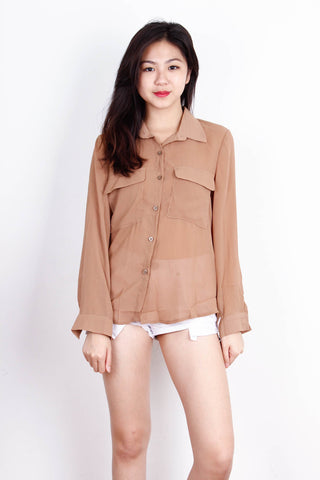 Khaki Long Sleeve Basic Top
