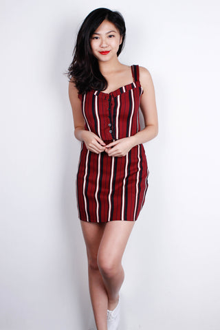 [POMELO] Burgundy Striped Top