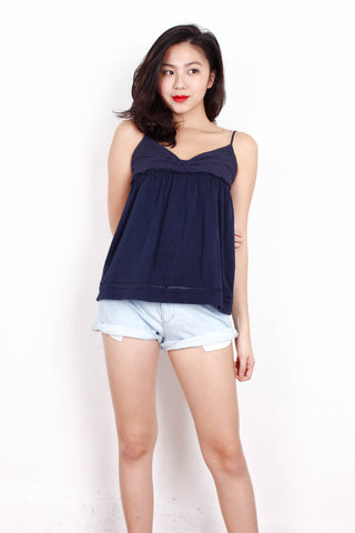 [MANGO] Ribbon Eyelet Top in Navy