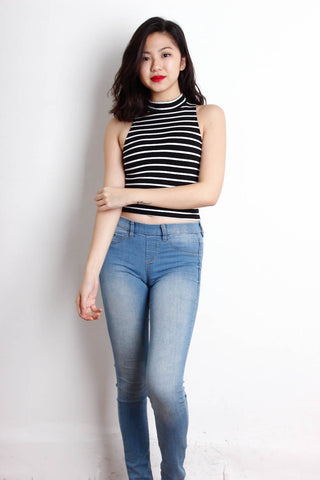 [THE TINSEL RACK] High neck Stripe Top