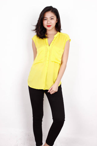 [ZARA] Chiffon Blouse in Yellow