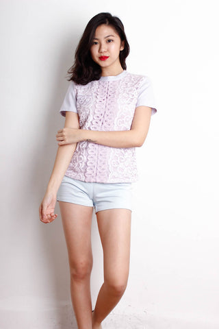 [THE CLOSET LOVER] Lilac Front Lace Embroidered Top
