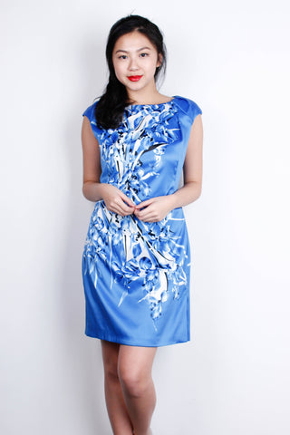 [KAREN MILLEN] Silky Royal Blue Abstract Dress