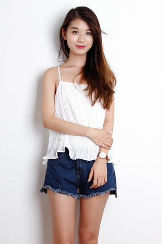Ruffle Pleated Top in White